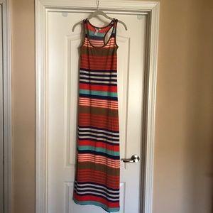 Ambiance Apparel Multi-colored Striped Maxi Dress